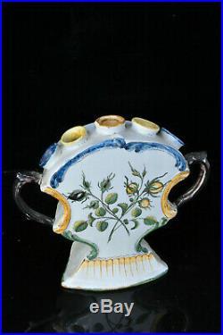 Tulipier vase pique fleur faïence de Nevers XVIII antique 18th french vase