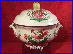 Tureen Antique French Faience Rooster on Flower Basket Lidded Tureen