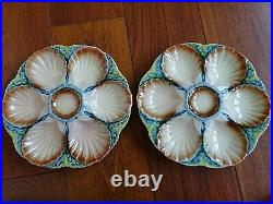 Two Vintage French Plates Oyster Faience Majolica Sarreguemines