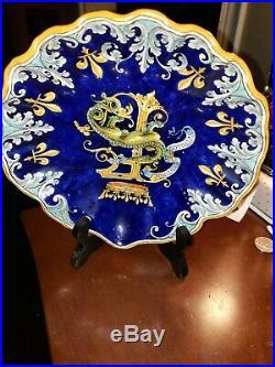 Ulysse Blois Blue French Faience Bowl w Dragons Signed E (Emile) Balon Antique