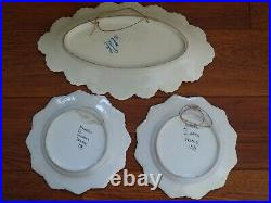 VINTAGE AMAZING DISH + TWO PLATES FRENCH FAIENCE HENRIOT QUIMPER circa 1920s
