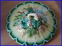 VINTAGE JAM OR BUTTER JAR FRENCH FAIENCE MAJOLICA SARREGUEMINES grape leaves