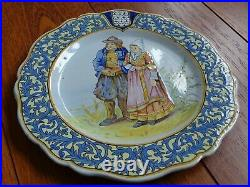 VINTAGE ONE PLATE FRENCH FAIENCE QUIMPER THE GREAT ARTIST PORQUIER BEAU c1880