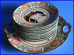 VINTAGE SET DESSERT 10 PLATES AND DISH FRENCH FAIENCE HB QUIMPER breton bretagne