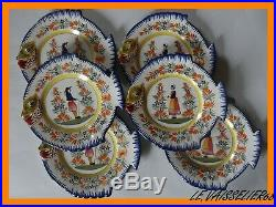 VINTAGE SIX FISH PLATE FRENCH FAIENCE HENRIOT QUIMPER circa 1950s