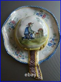VINTAGE WALL VASE FRENCH FAIENCE MALICORNE PBX BEATRIX circa 1890s
