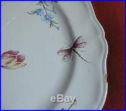 Veuve Perrin French Faience Tin Glaze Pottery Charger Platter Flowers 19th c