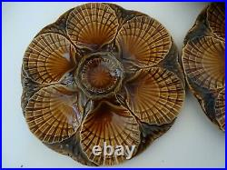 Vintage Four Plates French Oyster Faience Majolica Sarreguemines
