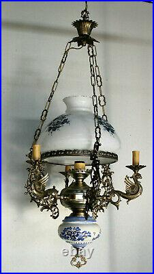 Vintage French Faience Brass Dragons ggothic opaline glass chandelier lamp