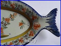 Vintage Large Plater Fish French Faience Henriot Quimper Breton 23
