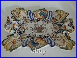 Vintage Plater Dish French Faience Desvres Rouen