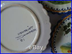 Vintage Service Dessert 8 Plates And Dish French Faience Henriot Quimper
