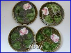 Vintage Six Dessert Plates French Faience Majolica Sarreguemines