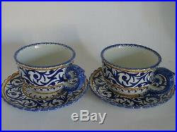 Vintage Two Cups Coffe And Saucer French Faience Henriot Quimper