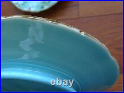Vintage Two Dessert Plates Pedestal French Faience Majolica Sarreguemines