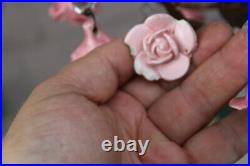Vintage french porcelain faience pink roses flowers chandelier pendant lamp