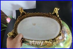 XL French hand paint planter faience cherub romantic decor bronze dragon frame