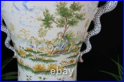 XL antique French faience Dragon phoenix bird handle putti cherubs scene rare