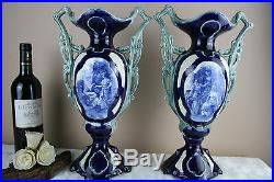 XL antique french PAIR faience pottery Vases 1930
