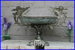 XL french floral porcelain faience centerpiece bowl spelter birds satyr figurin