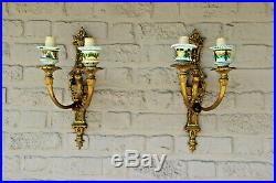 XL pair bronze faience French wall lights sconces 1970
