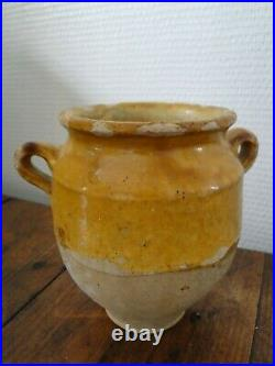 XS French antique art Pottery pot a confit Redware faience yellowware